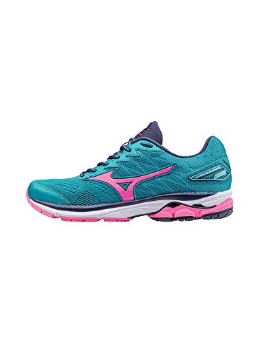 Mizuno Running Women's Wave Rider 20 Shoes, Tile Blue/Pink Glo/Peacoat, 8 B US