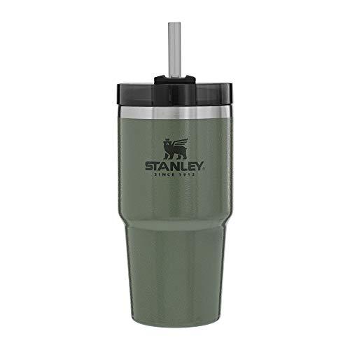 Stanley Copo reutilizável à vácuo Adventure com canudo, tampa à prova de vazamento, copo isolado, mantém o calor por 4 horas, frio por 5 horas e gelo por 30 horas – 590 ml