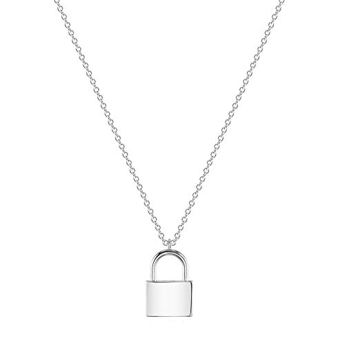 VACRONA Gold Lock Necklace 18K Gold Plated Over Brass Long Chain Pendant Dainty Jewelry Women