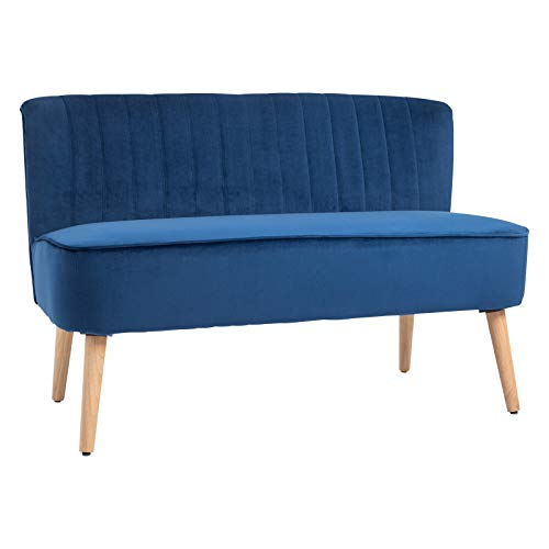 HOMCOM Modern Velvet Double Seat Sofa w/Wood Frame Foam Padding High Back Soft Comfortable Compact Couch Home Office Stylish Plush Touch Blue