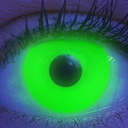 Farbige UV Kontaktlinsen 1 Paar Grüne Schwarzlicht Glow Green Neon Farblinsen. Jahreslinsen Topqualität zu Halloween, Fasching, Fastnacht, Karneval inkl. Kontaktlinsenbehälter - Ohne Stärke