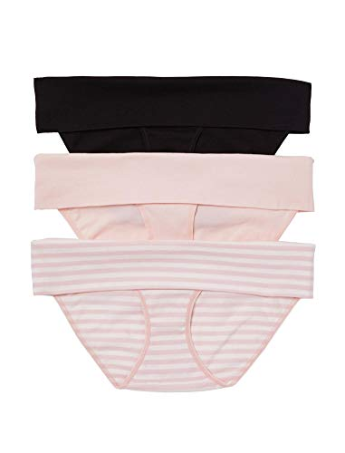 Motherhood Maternity Women's 3 Pack Fold Over Brief Panties, Black, Pink, Egret/Pink Stripe, Medium