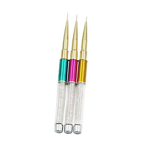 Onsinic 1 Paquete de uñas Ultra-Delgada Art Liner Esmalte de uñas Pincel de Pintura Mango Colorido Diamante de acrílico con Color al Azar Cubierta 11mm