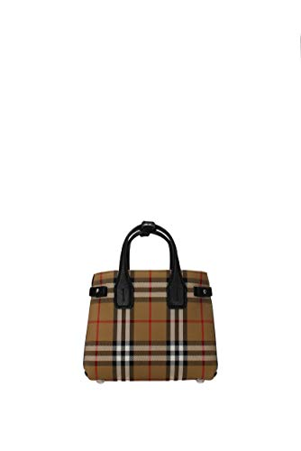"Make way for the Baby Banner top handle handbag by Burberry Textile/Leather This beautiful yet simple bag features leather trimming and the signature vintage check print Open slip compartment, convertible strap included Height: 7"", Width: 8.5"", Depth..."
