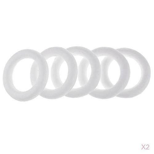 Fenteer 10 Stücke Weiß Styropor Kreis Ring Schaumstoff Handwerk DIY Bastelmaterial
