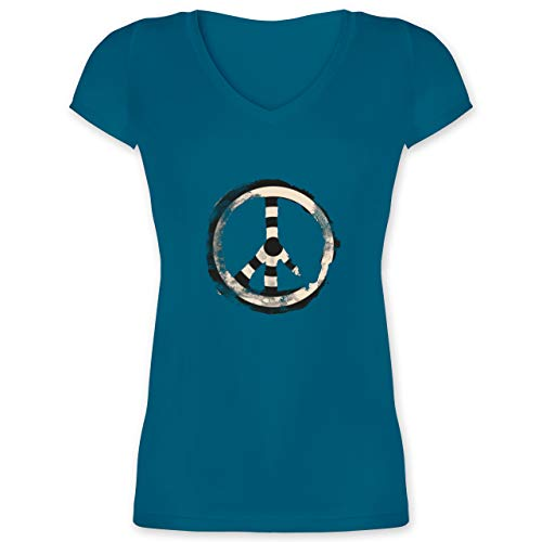Statement - Zielscheibe Frieden - Target Peace - L - Türkis - F281N_Damen_Kurzarm_Vneck - XO1525 - Damen T-Shirt mit V-Ausschnitt