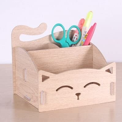PPuujia Lindo gato titular de bolígrafos multifuncional almacenamiento de madera cosmética/caja de almacenamiento para bolígrafos/regalo de oficina, organizador escolar (color: madera)