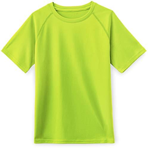 TSLA Kids Youth Running Shirts, Cool Dry Fit Gym Sports Workout Shirts, Athletic Short Sleeve T-Shirts, Hyper Dri Crewneck(kts01) - Neon Yellow, Large