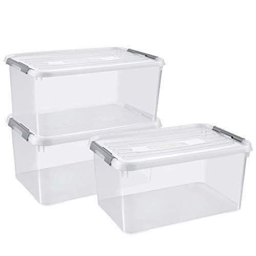 CURVER | Lot de 3 bacs de rangement Boîte de rangement Handy box 50L, Transparent, Plastique
