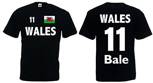World-of-Shirt Herren T-Shirt Wales EM 2016 Trikot Bale Nr.11|schwarz-S