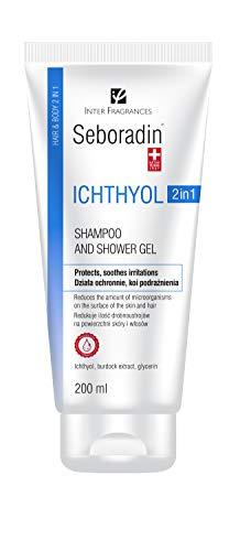 Seboradin ICHTHYOL champú y gel anticaspa 2 en 1 para piel atópica y sensible, contiene ichthyol blanco, extracto de raíz de bardana, y glicerina (200 ml)