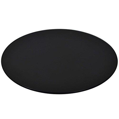 Vislone Ersatzteil Tischplatte Rund Glasplatte aus Gehärtetem Glas Durchmesser 500 mm Schwarz für Couchtisch Esstisch