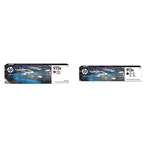 HP F6T82AE 973X Cartucho de Tinta Original de alto rendimiento, 1 unidad, magenta + L0R95AE 913A Cartucho de Tinta Original, 1 unidad, negro