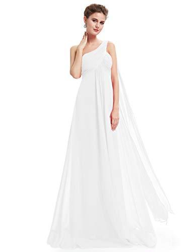 Ever-Pretty Vestido de Gala Gasa Un Hombro Corte Imperio Plisado sin Mangas para Mujer Blanco 36