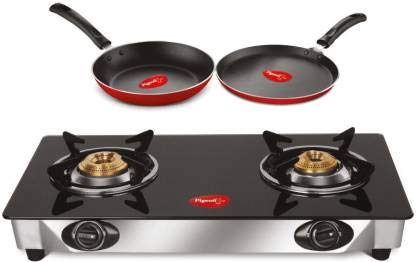Pigeon by Stovekraft Gas Stove 2 Burner Gift Offer - Ayush 2 Burner Glass top Cooktop + Flat tawa 240mm + Fry Pan 250mm Manual (Gas Stove)