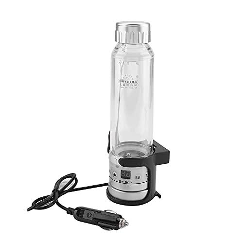 DERCLIVE Taza de té eléctrica para coche, 12 V, 24 V, 75 W, 280 ml, para calentar el agua, para botella