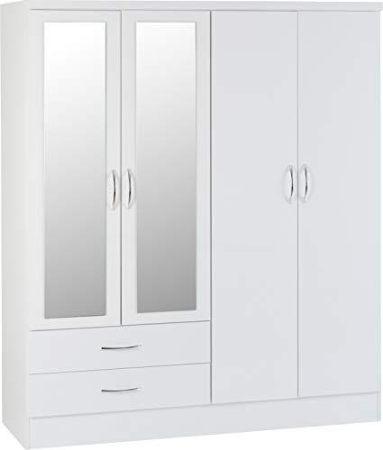 Seconique Nevada 4 Door 2 Drawer Wardrobe, White Gloss