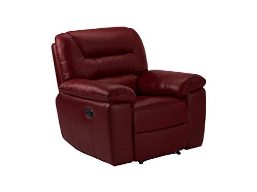 Oak Furniture Land Devon Armchair with Manual Recliner - Burgundy Leather