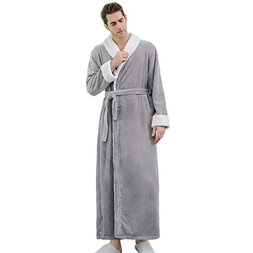 Herren Fleece Bademantel Winter Luxus Warme Dusch Robe Nachtwäsche mit Gürtel Super...