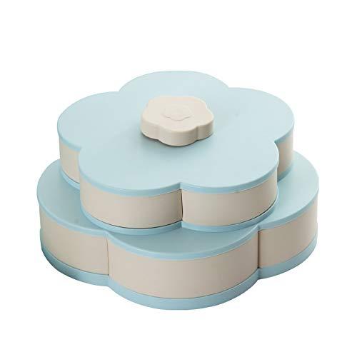 Haudang - Caja giratoria para aperitivos y caramelos (forma de pétalo), color azul