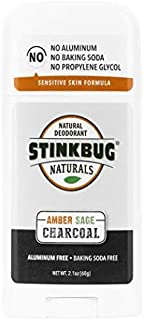 Natural Organic Deodorant Stick with Amber and Sage, Coconut Oil and Activated Charcoal, Aluminum Free Deodorant by Stinkbug Naturals, 2.1 Ounce