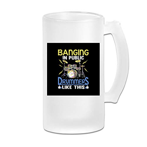 Printed 16oz Frosted Glass Beer Stein Mug Cup - Banging in Public Drummers - Graphic Mug