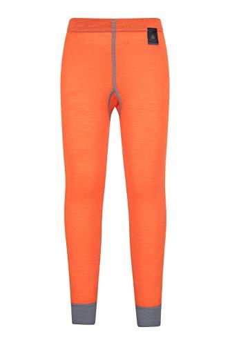 Mountain Warehouse Merino Thermohose als Baselayer für Kinder - Atmungsaktiv, leichte Hose, antibakterielle Kinderhose- Mädchen & Jungen Winter Baselayer Orange 11-12 Jahre