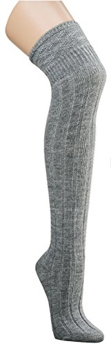 krautwear® Damen Mädchen 80cm Lange Kniestrümpfe Overknees Gestrickte Strümpfe Handgekettelt Weich Wärmend Gute Dehnung Guter Halt Schwarz Bordeaux Rot Wollweiss Grau (1x grau 39-42)