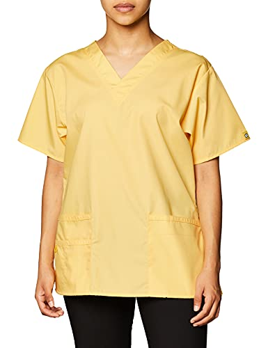 WonderWink Women's Plus Size Origins Bravo V-Neck Top, Yellow, 3X-Large