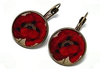 Orecchini fiore resina papavero rosso beige nero ottone bronzo perla 20mm regali personalizzati Natale amici madre complea...
