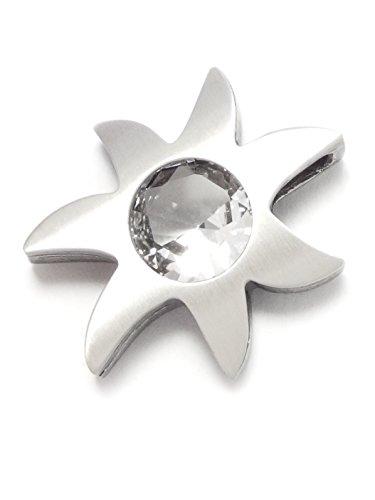 Nord-Form Ketten-Anhänger - Sonne mit Großem Bergkristall in Brillantschliff 925/ Silber