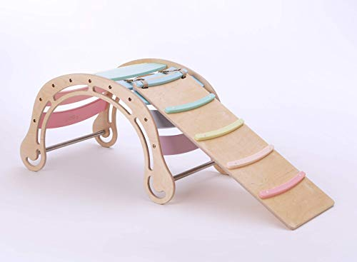 Original Waldorf Rocker for kids WITH A RAMP IN PASTEL TONES, Solid Wood Rocking toy - Children Wooden Active Toy, Natural Rocking chair, Interactive, Educational, Climbing