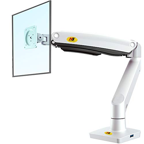 NB North Bayou F100A 22'-35' Supporto da scrivania per Monitor con Braccio Monitor Regolabile 360° da Molla a Gas per Monitor de 22'-35' VESA 75 100 (Bianco)