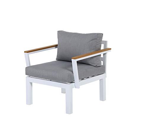 Gartenfreude Aluminium Sessel Ambience, flexibel einsetzbar mit wasserabweisenden Kissen, Weiß/Grau Silln, Blanco-Gris