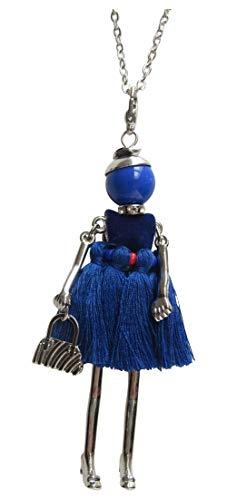 Halsketting hanger elegante pop jurk van pompon bommel blauw marineblauw, staal goudkleurig.
