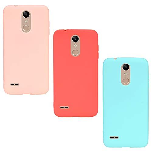 ChoosEU 3X Cover per LG K11 / K10 2018 Silicone Disegni Colorate Matte Belle TPU Morbido Antiurto Gomma Custodia Slim Bumper Case Protezione Ultra Sottile - Rosso Rosa Verde
