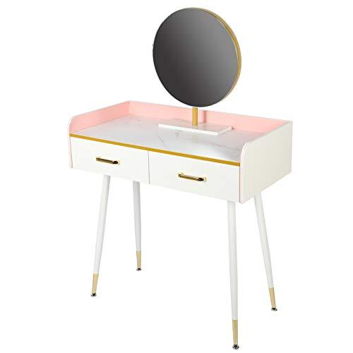 KACA Tavolo da Trucco con Specchio Rotondo, tavolini da Trucco con 2 cassetti per Piccoli spazi, Camera da Letto, Tavolo da Toilette per Donne