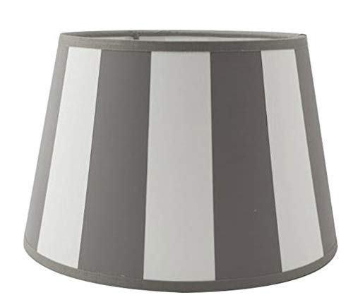 Oval-Lampenschirm-konische-Form gestreift dunkel Grau Weiss (20 * 30 * 18cm)