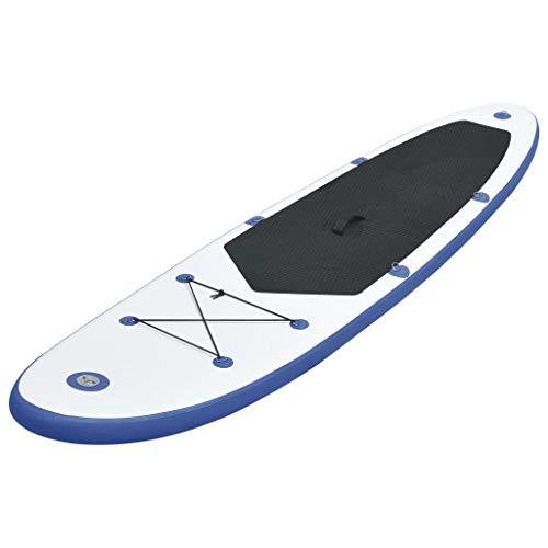Festnight Set de Tabla Inflable de Paddle Surf Sup abTla de Paddle Surf Azul y Blanco 360 x 81 x 10 cm