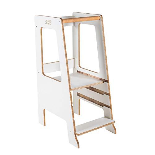 MEOWBABY Torre di Apprendimento per Babini Montessori Learning Tower Compensato Made in EU Bianco