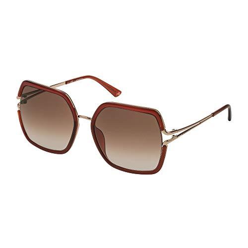 Nina Ricci - Gafas de sol SNR167 08H2 58-19-135 para mujer, oro rosa, paladio brillante, lentes de camel degradado
