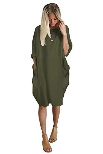 Landove Vestito Oversize Donna Elegante Moda Casual Abito Sciolto Scollo Barco Vestiti Manica Lunga Primavera Estate Caftano Tunica Taglie Forti con Tasche Abiti Ampi da Cerimonia Ufficio Giorno Mare