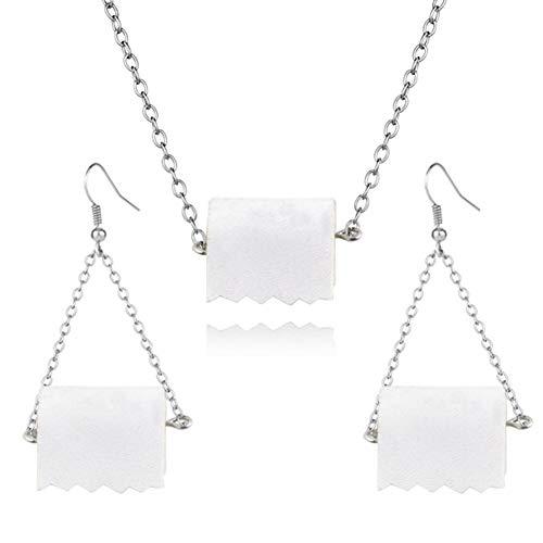 Divertidos pendientes de papel higiénico, regalo para mujeres, pequeños y novedosos pendientes hechos a mano en rollo de papel higiénico, joyería creativa