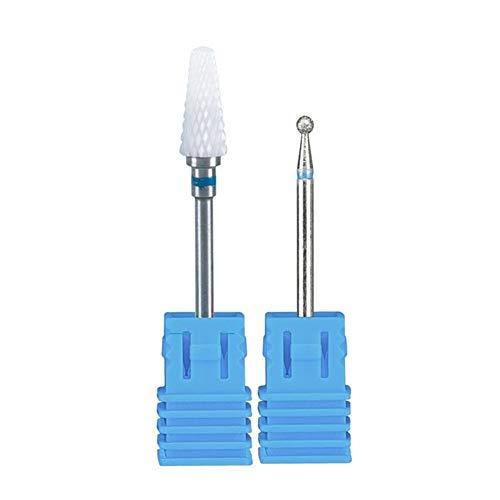 Milling Cutter for Manicure Machine Nail Drill Bits Set Ceramic Mill Cutters Pedicure Nails Accessories Nail Art Tools Nozzles (Color : 1T Blue 5U B)