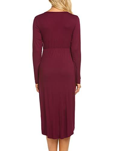 MAXMODA Stillnachthemd Damen Umstandskleid Rundhals Stillkleid Festlich Zum Stillen Nachtwäsche Wein Rot - 5