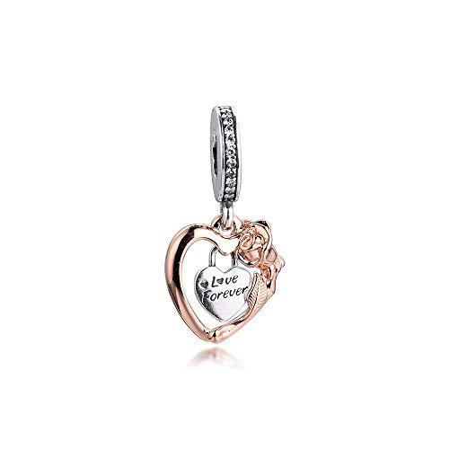 LILANG Pandora 925 Pulsera de joyería Natural se Adapta a corazón Rosa Flor Colgante abalorio Cuentas de Plata esterlina para Mujeres Enteras Regalo DIY