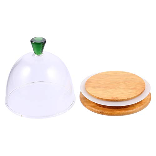 Cabilock Bandeja redonda de cristal para tartas con tapa hermética de madera...