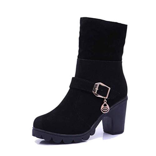 Hoge hak laarzen enkel Sneeuwlaarzen Winter Warm Pluche Stijlvolle Jurk Werk Wandelen Winkelen Niet Slip Duurzame Outdoor Katoen Booties Size
