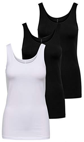 Only - ärmelloses T-Shirt für Damen., Weiß / Schwarz (1 X Weiß / 2 X Schwarz), Medium