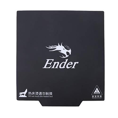 UKCOCO ENDER-3 Cinta de impresión magnética adhesiva Estampado adhesivo Superficie Flex Plate negro compilación cinta Creality i3 impresora 3D (235x235mm)